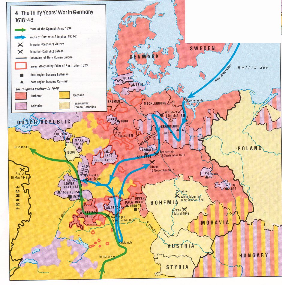 Mapa La Guerra De Los Treinta Años En Alemania The - Map germany thirty years war